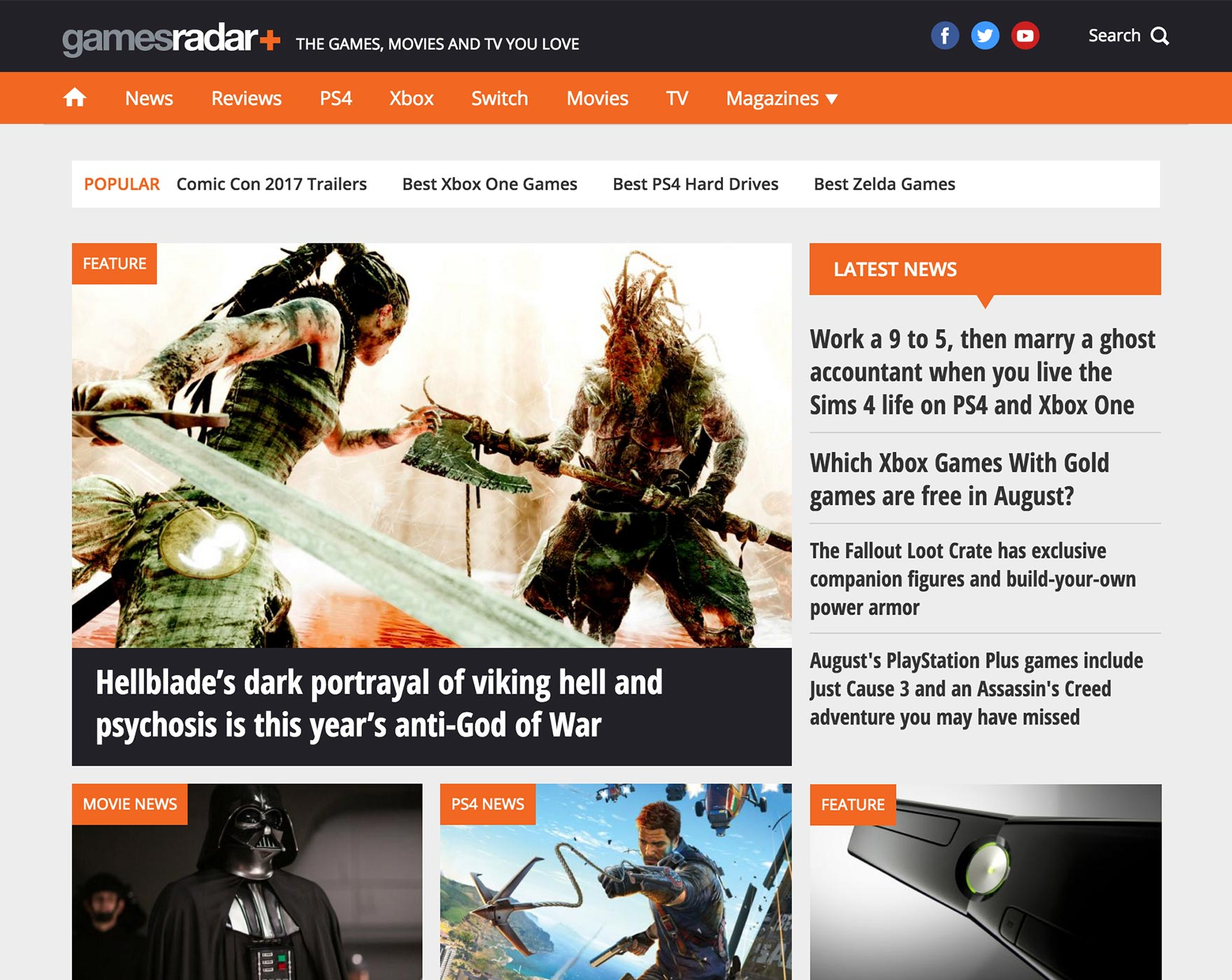 A picture depicting the GamesRadar homepage